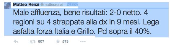 Il twit di Matteo Renzi