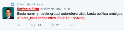 Il twit di Raffaele Fitto