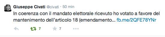 Il twit di Pippo Civati