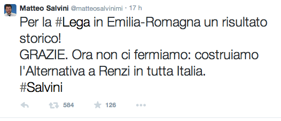 Uno dei twit di Matteo Salvini