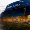 Greenpeace activists blockade the Probo Koala at the Estonian port of Paldiski. Activists branded the cargo vessel an EU Toxic Crime Scene and called for an investigation of the ship by the Estonian authorities, September 2006.