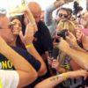La sindaca di Roma Virginia Raggi  arriva nel prato allestito per la seconda giornata di Italia 5 Stelle a Palermo per la Festa 5 Stelle, 25 settembre 2016. ANSA/MICHELE NACCARI