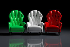 Vintage italian color armchairs on black background