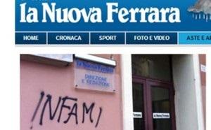 """Attacco antisemita alla """"Nuova Ferrara"""": scritta offensiva a ingresso redazione"""