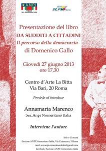 """""""Da sudditi a cittadini"""" – di Domenico Gallo. La presentazione giovedì 27 giugno, alle ore 17.30, presso il """"Centro d'Arte La Bitta"""" in Via Bari, 20"""