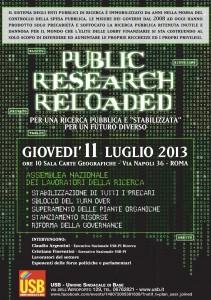 """""""Public Research Reloaded"""". Per una ricerca pubblica e """"stabilizzatta"""". Per un futuro diverso. Assemblea nazionale dei lavoratori della ricerca. Giovedì 11 luglio Roma"""