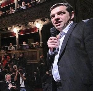 Tsipras al teatro Valle Occupato