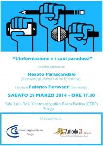 """""""L'informazione e i suoi paradossi"""". Oggi a Perugia dibattito promosso da Libertà e Giustizia e Articolo21."""