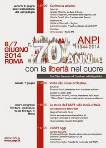 """""""1944-2014. Settanta anni con la libertà nel cuore"""". Le iniziative dell'Anpi, 6 e 7 giugno"""