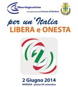 """2 giugno. """"Per un'Italia libera e onesta"""". Manifestazione di Libertà e Giustizia"""