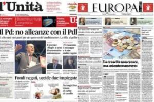 """Giornali: Art.21, preoccupati per sorti """"l'Unità"""" e """"Europa"""""""