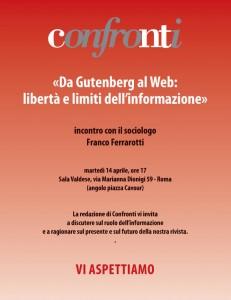 """""""Da Gutenberg al Web: libertà e limiti dell'informazione"""", 14 aprile, Roma"""