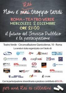 """""""Non è Rai troppo tardi"""". Roma, 2 dicembre"""