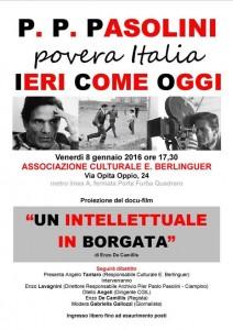 """""""Un intellettuale in borgata"""". Roma 8 gennaio"""