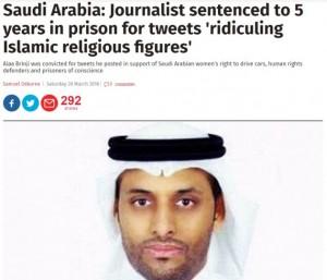 Arabia Saudita, condannato a cinque anni di carcere per dei tweet