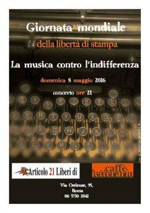 """""""La musica contro l'indifferenza"""". Tutti con/per Articolo21 domenica 8 maggio alle 21"""