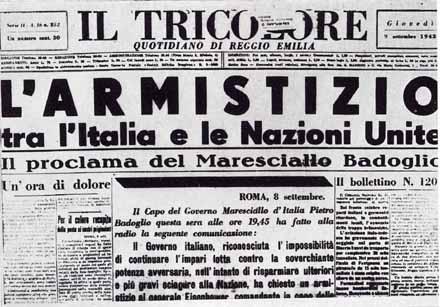 8 settembre 1943 l armistizio che pose agli italiani una for Resoconto tratto da articoli di giornali