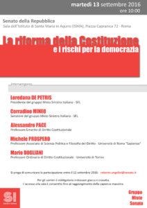 """""""La riforma della Costituzione e i rischi per la democrazia"""". Roma, 13 settembre"""