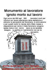 Monumento al lavoratore ignoto morto per infortunio sul lavoro