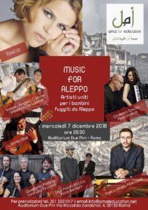 Music for Aleppo. Per i bambini siriani. Mercoledì 7 dicembre ore 20,30 con il Quartetto Pessoa