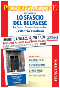 """""""Lo sfascio del Belpaese"""". Il 10 aprile in Fnsi presentazione del libro di Vittorio Emiliani"""