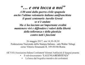 'E ora tocca a noi', venerdì 26 maggio in Fnsi convegno dell'Aicvas per gli 80 anni dalla guerra civile spagnola