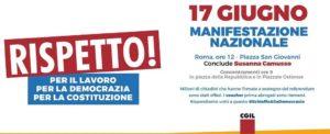 """""""Rispetto! Per il lavoro, per la Democrazia, per la Costituzione"""". Articolo21 a Roma con la Cgil"""