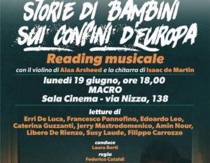Storie di bambini sui confini d'Europa.Reading musicale, il 19 giugno al Macro