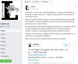 """Attacco hacker a Liberoquotidiano.it, Fnsi: """"L'hackeraggio è un reato, solidarietà ai colleghi. Condanna di qualsiasi forma di razzismo e intolleranza"""""""