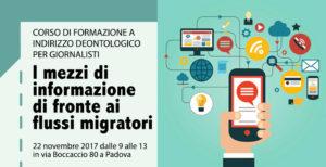 """""""I mezzi di informazione di fronte ai flussi migratori"""". Un corso di formazione a Padova"""