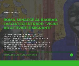 """Roma, minacce al Baobab.  LasciateCIEntrare: """"vicini ad attivisti e migranti"""""""