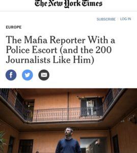 La storia di Paolo Borrometi e degli altri giornalisti sotto scorta sul New York Times