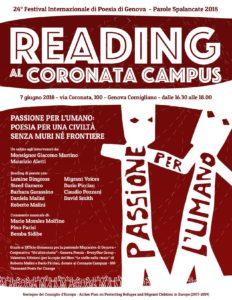 Il Festival di Poesia di Genova 2018 si apre con il Reading al Coronata Campus