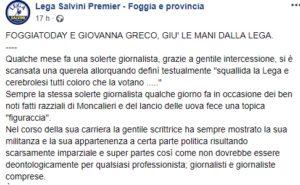 Foggia, Fnsi e Assostampa Puglia: minacce della Lega alla collega Greco