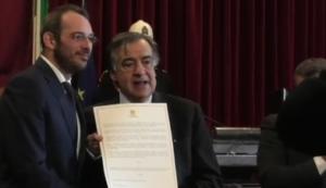 Palermo. Cittadinanza onoraria a Paolo Borrometi