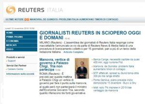 Giornalisti Reuters Italia in sciopero. Il sindacato al fianco dei colleghi
