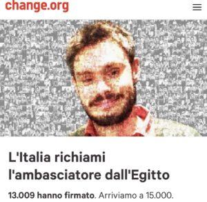 Scorta mediatica per Giulio Regeni, l'Italia richiami l'ambasciatore dall'Egitto