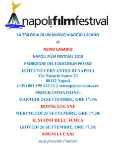 Il Napoli Film Festival presenterà in anteprima la trilogia del viaggio lucano di Nevio Casadio