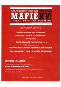 La militanza e la lotta alla mafia: all'università degli studi di Pavia, Musacchio parlerà agli studenti della mafia albanese