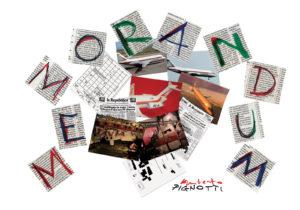 I Fogli multipli dell'opera di Lamberto Pignotti Memorandum, dedicata alla Strage di Ustica