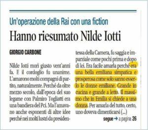 Articolo di 'Libero' su Nilde Iotti, Cpo e Giulia Giornaliste: «Misoginia e sessismo»