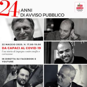 """""""Da Capaci al Covid-19: una storia di impegno contro mafie e corruzione"""". Evento on line 22 maggio per i 24 anni di """"Avviso Pubblico"""""""