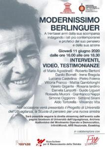 """Modernissimo Berlinguer"". Diretta web 11 giugno"