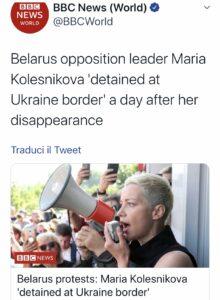 Bielorussia arrestata la leader dell'oppozione Maria Kolesnikova