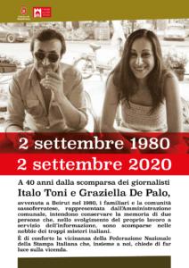 Scomparsa Toni-De Palo. I familiari e la comunità di Sassoferrato ringraziano la Fnsi