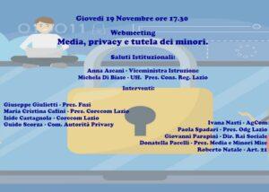'Media, privacy e tutela dei minori', il 19 novembre webmeeting del Corecom Lazio