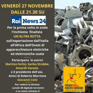 """""""Un'altra rotta"""" a Rainews24. Il 27 novembre la video inchiesta finalista del Premio Morrione"""