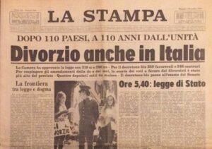1 dicembre 1970. Approvata la legge Fortuna-Baslini che introduce il divorzio