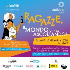 """""""Activate Talks: Ragazze, il mondo vi sta ascoltando!"""" Unicef, 10 dicembre"""