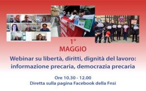 'Libertà, diritti, dignità del lavoro': il 1° maggio evento online della Fnsi